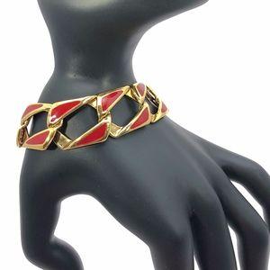 Vintage Napier Red and Gold Chain Link Bracelet